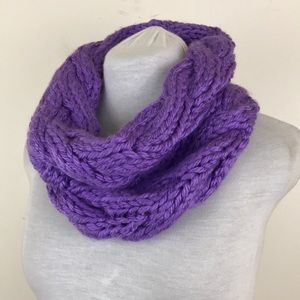 NWOT Lewis Knits Purple Cable Knit Infinity Scarf